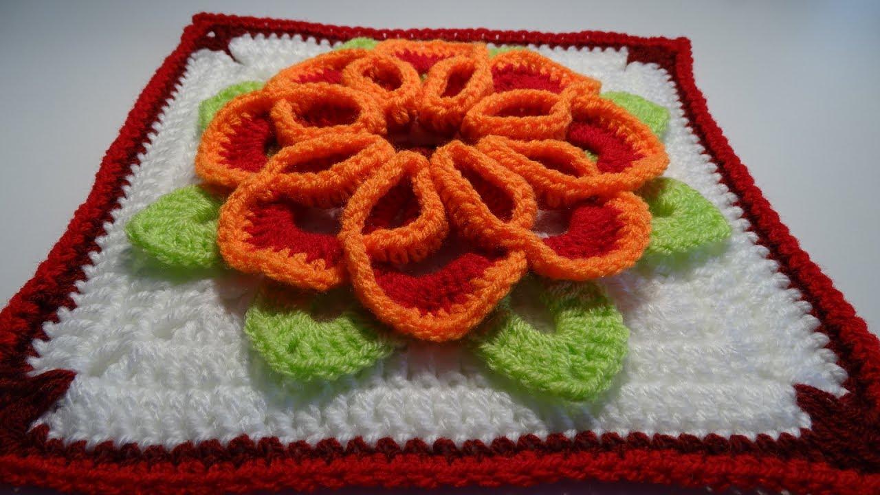 Crochet 3d Flower Square Nr 2 Youtube