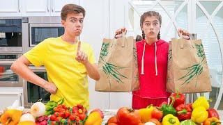 Nastya, Artem and Mia argue - where to buy vegetables?