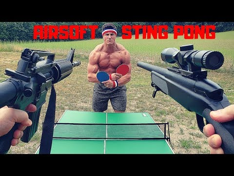 Painful Airsoft STING PONG Challenge   Bodybuilder VS Airsoft Guns and Sniper Fail