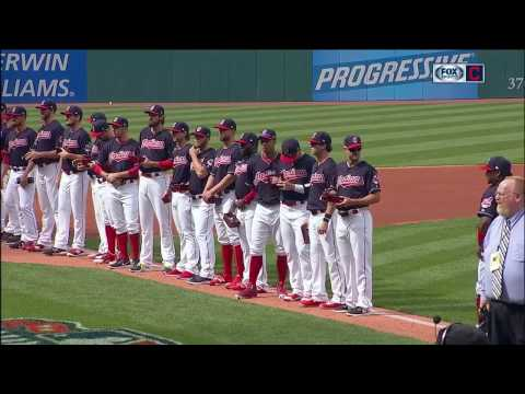 Cleveland Indians presented with their American League Championship rings before home opener