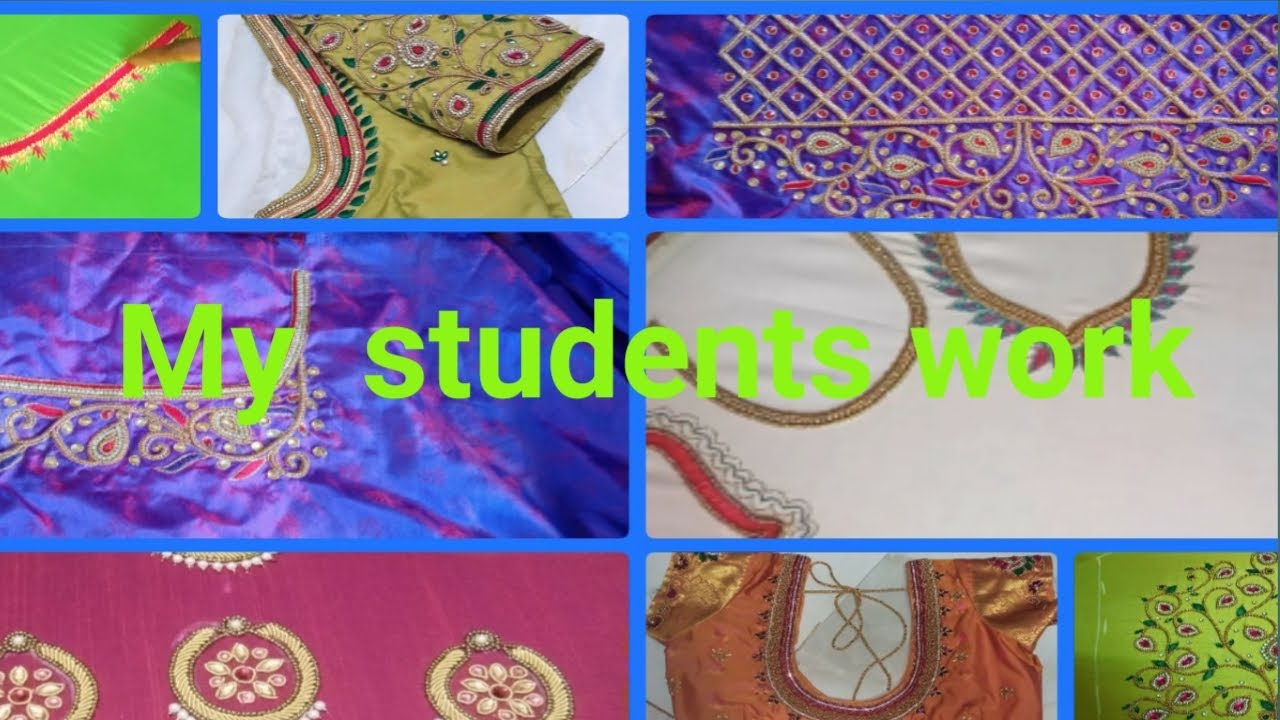 Aari embroidery students work||lishubridalblouses ||Aari work class