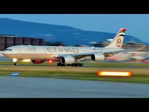 [FullHD] Etihad Airbus A340-500 heavy takeoff at Geneva/GVA/LSGG