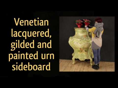 Venetian lacquered, gilded and painted urn sideboard. Shop online antiques and decorative