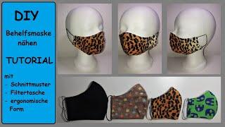DIY Mundschutz nähen, ergonomische Atemschutzmaske ohne Draht mit Filterschicht und Schnittmuster
