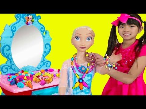 Emma Pretend Play w/ Frozen Elsa Doll & Jewelry Shop Toys