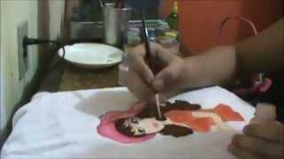 Pintura em Tecido – boneca de cabelos castanhos