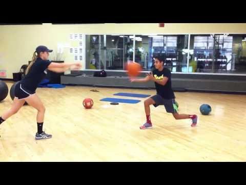 Med Ball Partner Toss in Lunge Position