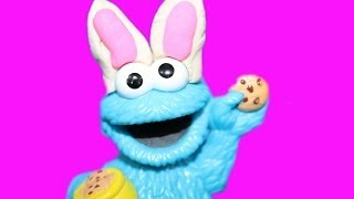 Play-doh Cookie Monster Easter Bunny Decorates Easter Cookie Playdough Eating Cookies