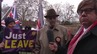 Richard Riddle UKIP Ipswich interviewed outside Westminster March 2019