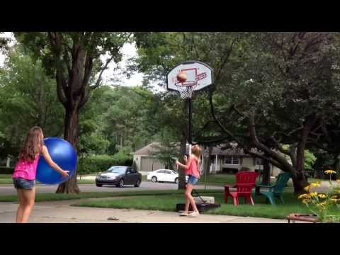 At Home Gym Class Project: Yoga Ball Basketball Shot
