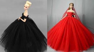 Barbie Elbise Yapımı | DIY |Dikişsiz kendin yap ~ 5 Dakikada hallet- Barbie Crafts