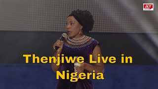 Thenjiwe South African comedian performing Live in Lagos Nigeria