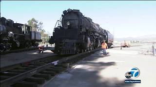"""The union pacific locomotive, known as """"big boy"""" 4014, is largest locomotive ever constructed and it just rolled in to southern california after a massiv..."""