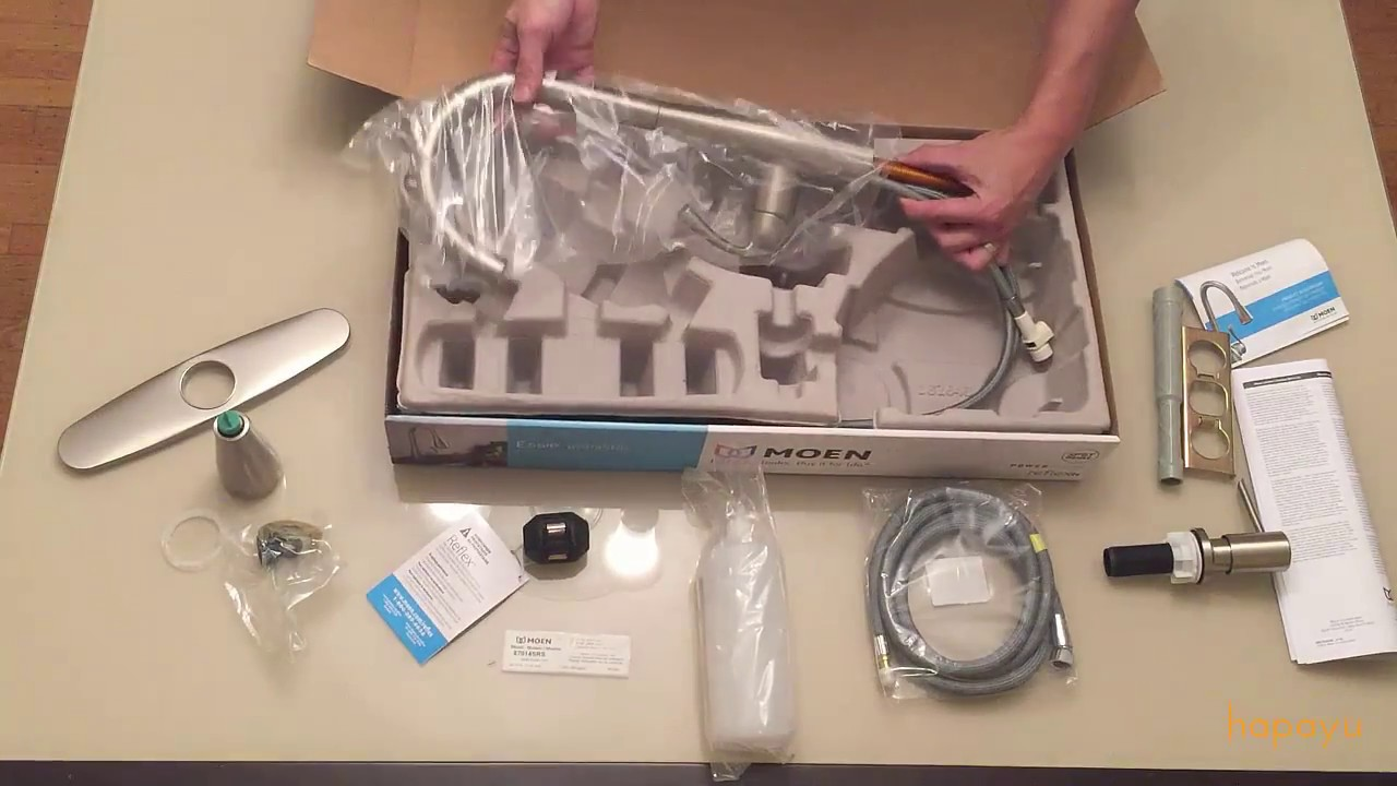 moen essie kitchen faucet unboxing - youtube