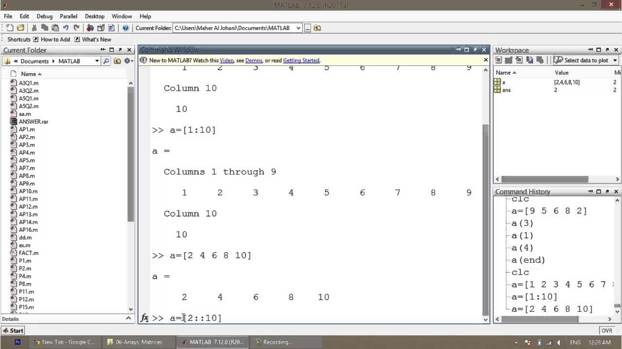 MATLAB - 07 - Arrays & Matrices & Vectors - YouTube