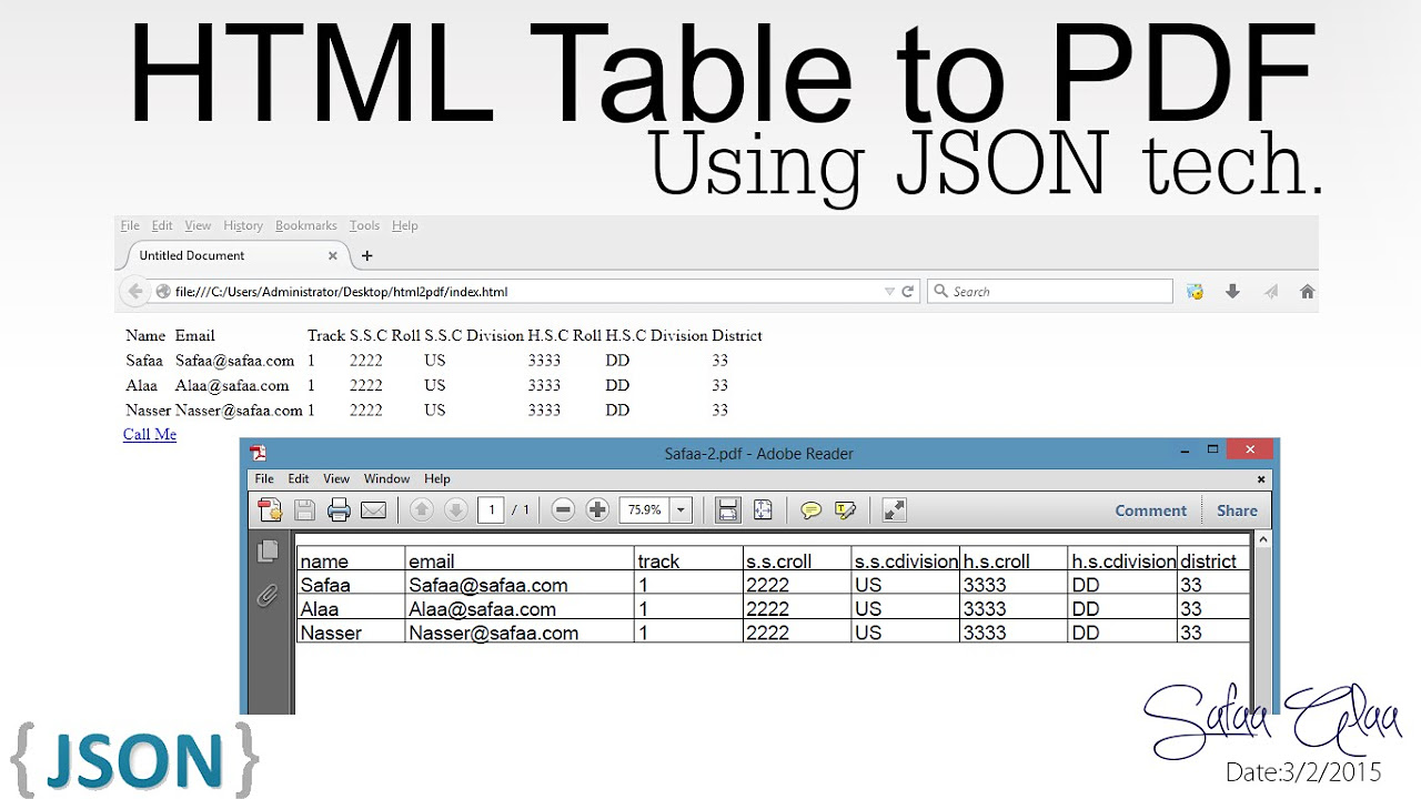 html table to pdf using json jspdf how to videos