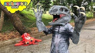 INDOMINUS REX wants a lobster ||| Skyheart hunts for hybrid dinosaur action kids nerf war eyeballs