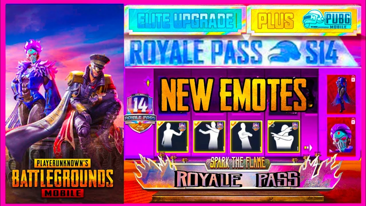 SEASON 14 UPDATE : ROYAL PASS EMOTES , 100 RP OUTFIT AND EVENTS  ( PUBG MOBILE ROYAL PASS )