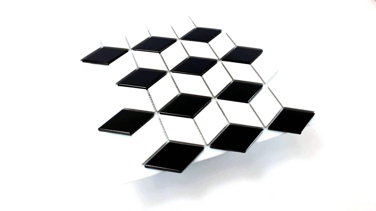 Mosaikfliesen Keramik Kosmos 3D Würfel Glänzend Schwarz Weiss