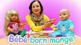 Vidéo en français pour enfants. Bébé born Chloé. Peppa Pig et Agathe préparent le diner