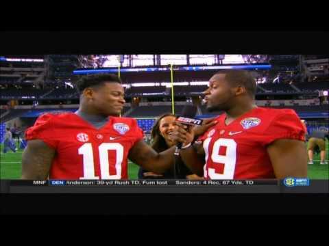 Reggie Ragland interviews teammates at Cotton Bowl Media Day.