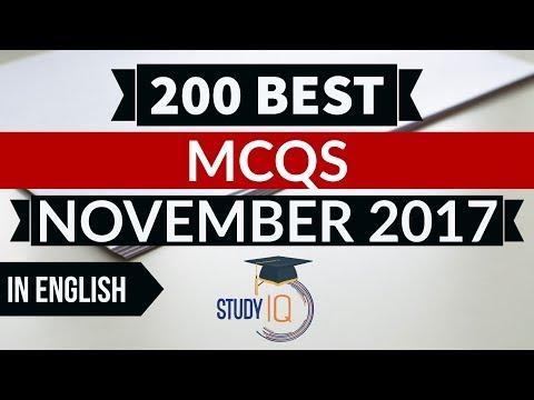 English - 200 Best current affairs MCQ from November 2017  - IBPS PO / SSC CGL / UPSC / RBI Grade B