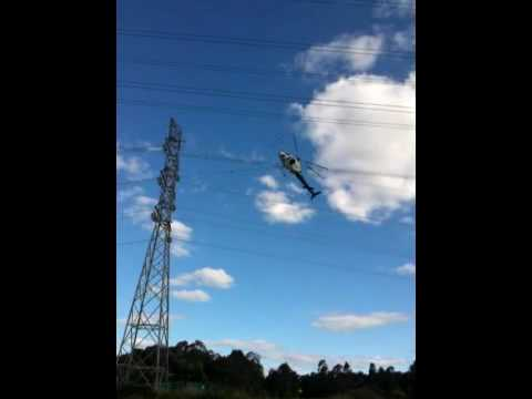 Eurocopter AS350 (Ecureuil) Helicopter laying cables