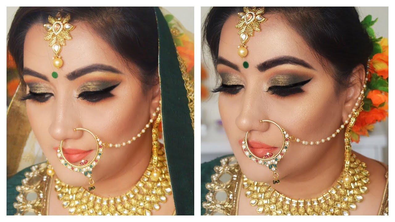 hindi) indian bridal makeup | step by step green eye makeup tutorial