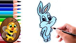 dibujando y pintando un conejo animado - Dibujos para Niños - How to draw and paint