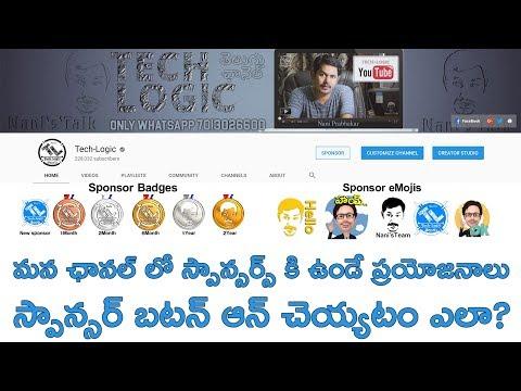 How to Enable Sponsorship on Youtube : Sponsorship Benefits ~ in Telugu ~ Tech-Logic