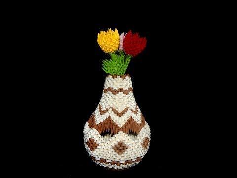 3D Origami  Vase tutorial 1 || DIY paper Vase