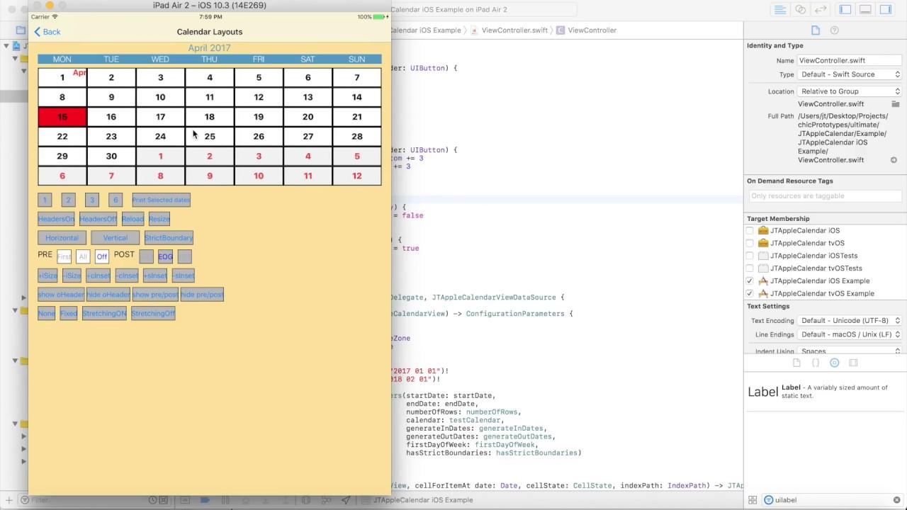 Calendar layouts with JTAppleCalendar - YouTube