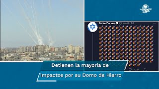 La diplomacia indicó, según sus tuits, que han sido unos mil 628 misiles disparados por las milicias palestinas contra Israel