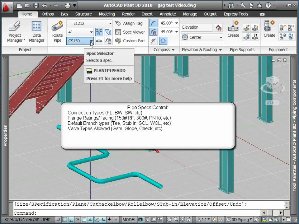 Routing Pipe With Autocad Plant 3D (Part 1) - Youtube