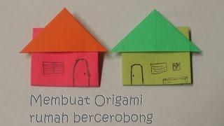 Cara melipat origami bentuk rumah bercerobong asap