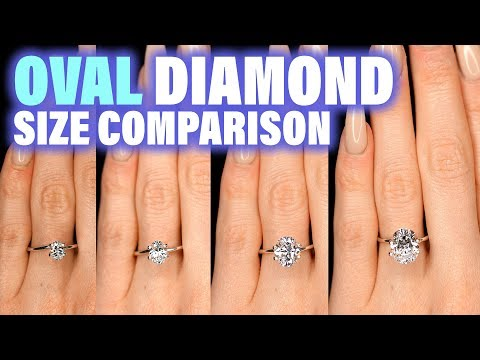 Oval Shaped Diamond Size Comparison on Hand Finger Engagement Ring Cut .75 Carat 2 ct 1 3 4 1.5 .25