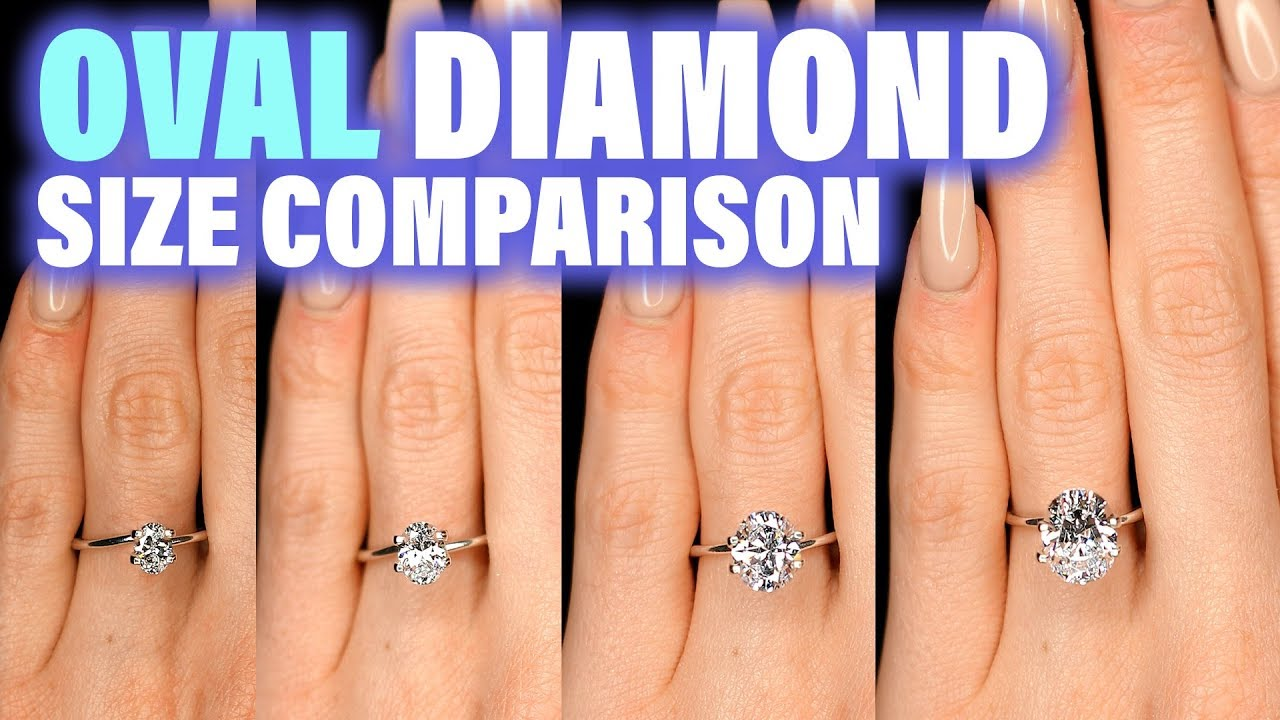 Oval Shaped Diamond Size Comparison On Hand Finger Engagement Ring Cut 75 Carat 2 Ct 1 3 4 1 5 25