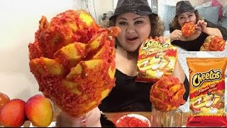 flamin hot cheetos mango flower on a stick diy mukbang wendy s eating show