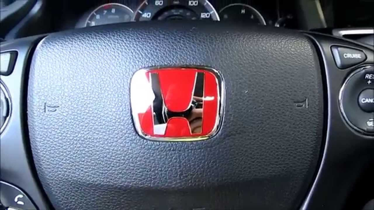 J S Racing Red Honda Steering Wheel Emblem Installation