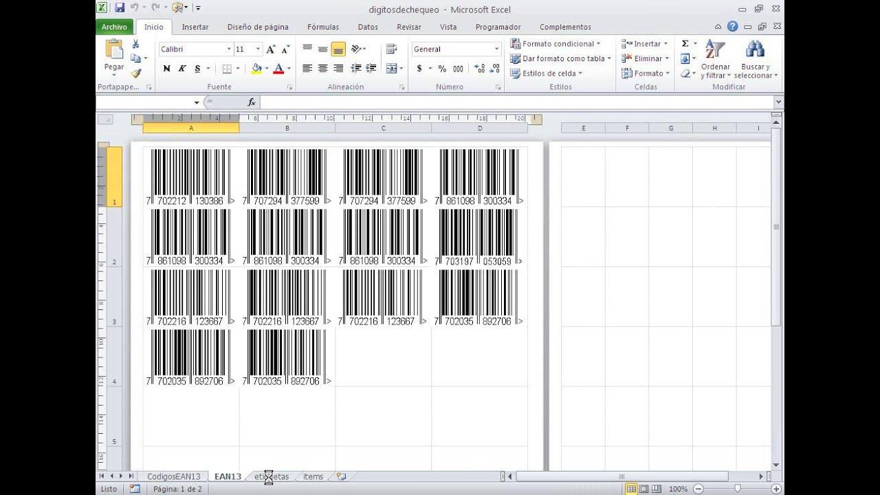 Plantilla Premium: Crea Codigos De Barras Con Excel Tipo