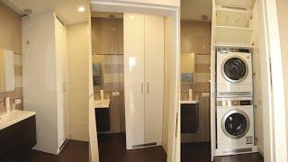 Шкаф из МДФ в ванную комнату, для стиральной и сушильной машин. Шкаф в ванную Киев.