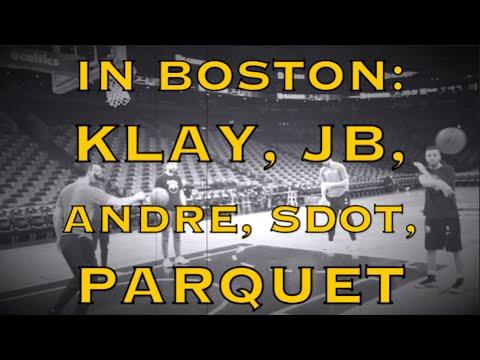 Views from Boston: Klay, Andre Iguodala, Kerr with Livingston, parquet floor of TD Garden