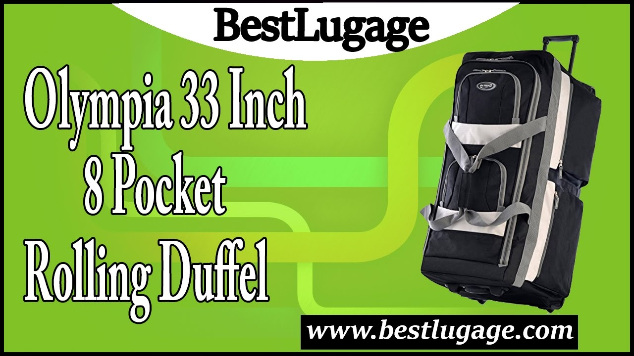 23b953f576aa Olympia 33 Inch 8 Pocket Rolling Duffel Review - YouTube