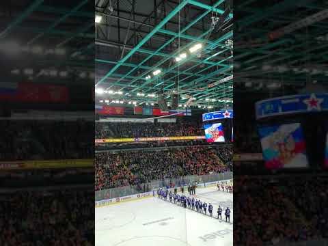 Russian Hockey fans (SKA) finish National Anthem