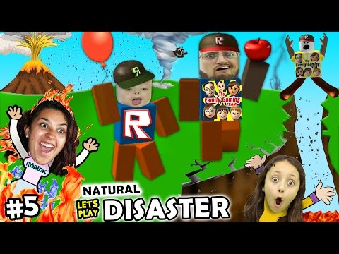 Let's Play ROBLOX #5: SAVE FAMILY OR PLAY GAMES?  Natural Survival Disaster w/ FGTEEV Duddy & Chase