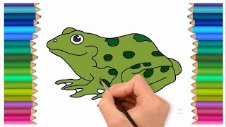 How to draw a froggy with colouring page for kids