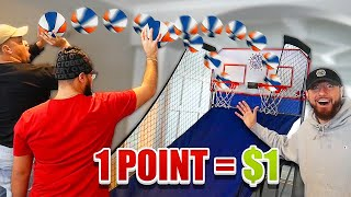 1 Point = $1 DOLLAR ($1000 MINI BASKETBALL ARCADE CHALLENGE!!)