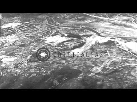 Landscape and bomb damaged terraced land in Hiroshima, Japan after World War II. HD Stock Footage