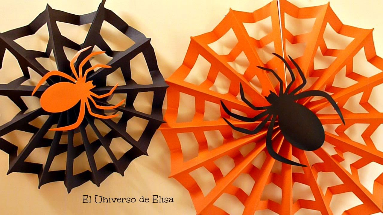 decoracin para halloweenda de los muertos tela de araa paper spiderweb halloween decoration youtube - Adornos Halloween