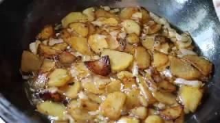 Лучший чугунный казан, сковорода, жаровня, жареная картошка, жареные пельмени, жареные пирожки.